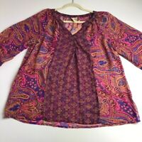 Fig and Flower Women's ¾ Sleeve Blouse Top XL Multicolor Floral Paisley Sheer
