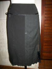Jupe longue polyester noir et  nylon rayé stretch zip FRED SABATIER 46/48FR