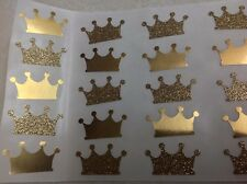 Gold Glitter and Gold Mirrored Paper Crown Stickers 25 pc