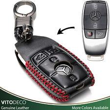 Vitodeco 4-Button Leather Key Fob Case for 2020 Mercedes-Benz E-Class, S-Class