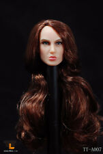 *Brand New* TTL Toys 1/6 Female Head with Brown Long Curly Hair A007 *US Seller*