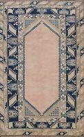 Semi-Antique Geometric Anatolian Turkish Area Rug Handmade Oriental Carpet 5x8