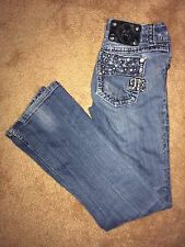 MISS ME  #JE4897B6R WOMENS 26/31 DISTRESSED BOOT CUT BLING JEANS
