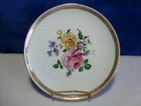 """Vintage Floral Winterling Porcelain Decorator 7 1/2"""" Plate With Gold Trim   #470"""