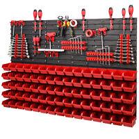 75 Boxen SET Lagersichtboxenwand Stapelboxen mit Montagewand Werkzeugwand