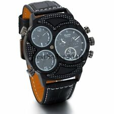 Luxury Mens 3 Time Zone Army Military Big Face Leather Quartz Analog Wrist Watch