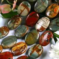"""NATURAL 10X14MM MULTI-COLORED PICASSO JASPER GEMSTONE OVAL LOOSE BEAD STRAND 15"""""""