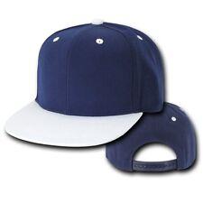 Navy Blue White Vintage Flat Bill Snap Back Snapback Baseball Cap Caps Hat Hats