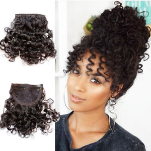 Clip In Curly Bangs 100% Natural Human Hair Clip on Curly Hairpiece Extensions
