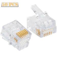 50Pcs CAT3 EZ-RJ12/11 Connector Plug Clamshell Telephone Security Platinum Tools