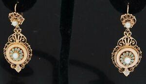 Arts & crafts era 14K gold 3.9mm pearl turquoise enamel flower dangle earrings