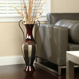 """Tall Metal Floor Flower Vase With Handles Décor 26""""H Home Office Foyer Fireplace"""