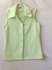 Summer Sleeveless Top Ship'n Shore Vintage Polyester Button Down light Green 14