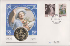 ST HELENA & ASCENSION B/UNC 1990 PNC £2 COIN COVER QUEEN MOTHER 90TH BIRTHDAY