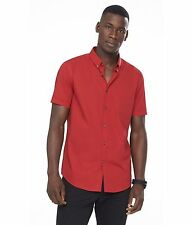 New Men's Express 1MX Red Short Sleeve button Down Front Shirt Large Fitted L