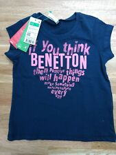 489b45a6 BNWT United Colors of Benetton Girls T-Shirt Navy W/ Pink Motif Age 1