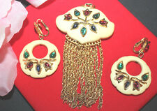 RARE TRIFARI SIGNED STRIKING JEWELED PIN AND EARRING SET-FLAWLESS -EXC..