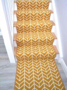 Custom Made Extra Long Gold Bespoke Stair Carpet Very Narrow Rug Cheapest Online