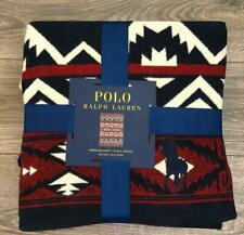 Polo Ralph Lauren New Big Pony Red Blue Southwest Ethnic Throw Blanket 50x70 Nwt