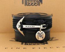 Finest Solid Sterling Silver Anchor on Best Black Milan Rope Bracelet & Necklace