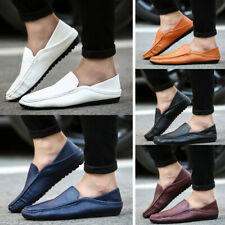 Leather Mens Casual Loafers Shoes Slip on Brathable Soft Peas Lazy Driving Shoes