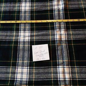 "Fabric Destash Lt 100 is 33 "" x 50"" Wool Plaid (tartan) fabric Green Blue Yellow"