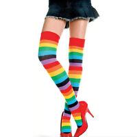 Trendy Women Rainbow Brite Thigh High Striped Socks Cotton Blend Hold-ups
