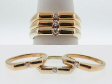 Genuine Diamonds Band SET Solid 18K TRI-COLOR Gold Rings FREE Sizing