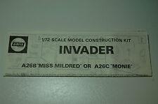 1/72ème PLAN DE MONTAGE POUR INVADER A26B MISS MILDRED OU A26C MONIE - AIRFIX