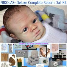 DELUXE Complete Reborn STARTER Doll KIT,  DVD, Mohair, Body, Paints, Nikolas