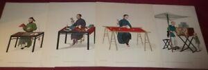 "4 Pu-Qua Canton Delin Prints By W Miller 1799 Copyright 1949 Art Lore 13""x10 1/2"
