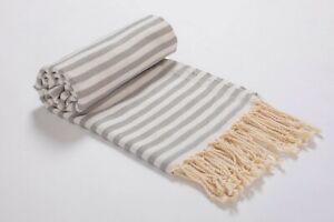 Striped Premium Beach Towel Silver,100% Cotton Turkish Bath Towel Peshtemal