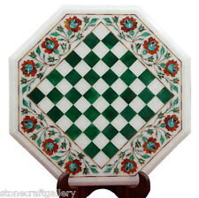 "15"" Marble Chess Coffee Table Top Pietra dura Stone Marquetry Floral Art Decor"
