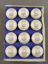 12 Knöpfe LYRA, 16mm, versilbert, Musiker, Militärmusiker, Uniform, um 1910, S2