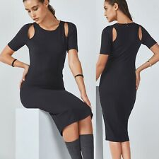NWT $85 Fabletics Women's Medium Black Stretch Eva Midi Sheath Bodycon Dress