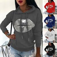 Women's Sequins Lip Hoodies Hooded Sweatshirt Ladies Casual Jumper Pullover Tops