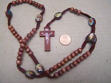 Basic Rosary with Round Wood Beads and Saints Pictures - Made in Mexico