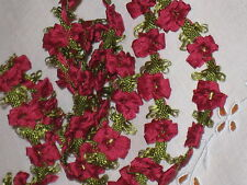 SALE*Old Stock Vintage FRENCH RUBY SILK & RAYON ROCOCO ROSETTE TRIM~Doll/Baby~Yd