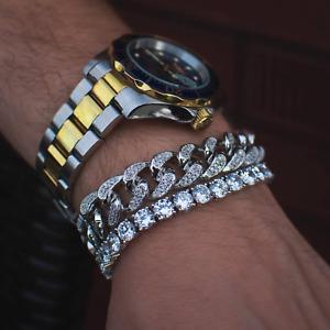 14k Gold Diamond Cuban Link + Tennis Bracelet Bundle Solid Real Icy Iced