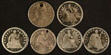Lot of (5) Seated Liberty Half Dimes Distressed & Bust Half Dime - Free Ship Us