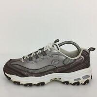 Skechers D Light Grey Leather Gym Trainer Sneaker SN11565Women Size UK 7 Eur 40