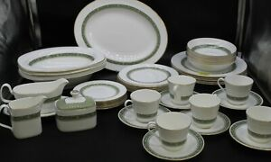 Large 42 Piece Royal Doulton Rondelay Green Floral Dinner Service China Set