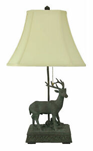 Zeckos Verdigris Patina Standing Deer Rustic Table Lamp with Shade