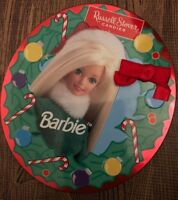 """Russell Stover Candies Holiday Barbie Collector Tin empty Christmas 41/2 """" round"""