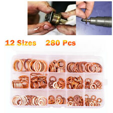 280pcs 12 Sizes Solid Copper Crush Washers Seal Flat Ring Hardware kit Durable