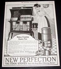 1919 OLD MAGAZINE PRINT AD, NEW PERFECTION COOK STOVES, BLUE CHIMNEY BURNER ART!