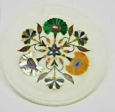 Absolutely Awesome 6'' Marble Wall Plate Inlaid Lapis, Malachite, Abalone, MOP