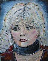 DEBBIE Blonde portrait oil painting 8x10 canvas original signed art by Crowell