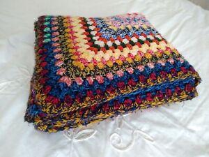 Retro Vintage Granny Blanket Crochet Knitted Multicoloured Throw 142cm X 142cm