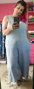 NEW STYLE, POWDER BLUE LINEN BOW BACK  TIE DUNGAREES Onesize 8/10-16/18 Italian